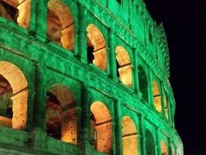 Il Colosseo si tinge di verde per San Patrizio