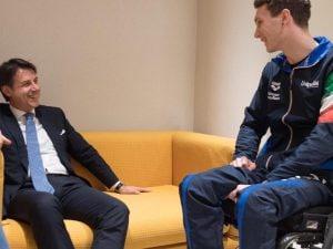 Il presidente del Consiglio Giuseppe Conte ha incontrato Manuel Bortuzzo