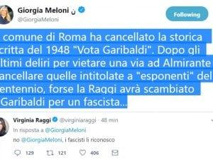 Lo scambio di twit tra Giorgia Meloni e Virginia Raggi