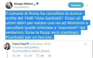 """Scritta cancellata a Garbatella, Virginia Raggi contro Giorgia Meloni: """"I fascisti li riconosco"""""""