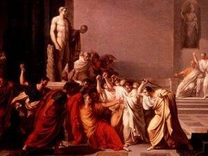 La Morte di Giulio Cesare secondo il pittore neoclassico Vincenzo Camuccini nel 1806