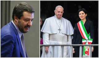 """Papa Francesco da Raggi in Campidoglio, Salvini: """"Monnezza e cavallette, è andato a benedirla"""""""