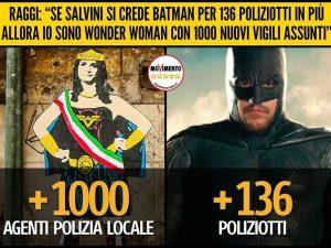 Raggi–Wonder Woman e Salvini–Batman