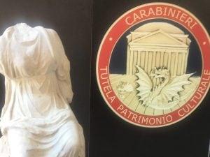 La statua della Musa Calliope rubata nel 2010 dalla villa di Roberto Benigni e Nicoletta Braschi