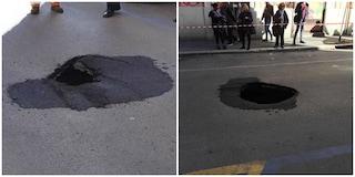 Voragine in via Alessandria: la strada da due giorni è chiusa