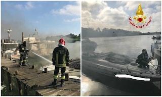 Fiumicino, a fuoco tre imbarcazioni ormeggiate sul fiume Tevere: non ci sono feriti