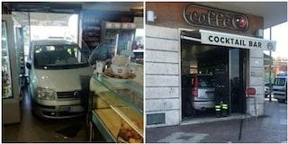Roma, auto finisce dentro al bar Caffè Meet di Casal del Marmo