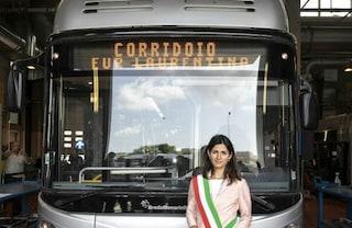 Virginia Raggi inaugura il corridoio di filobus 'Laurentina-Tor Pagnotta'