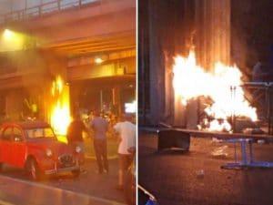Rissa con incendio alla Stazione Tiburtina (Foto di Comitato Cittadini Stazione Tiburtina)