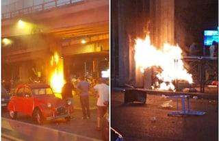 Rissa con incendio alla Stazione Tiburtina a Roma: bottiglie rotte e fiamme in strada