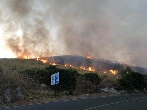 L'incendio tra Fondi e Itri (Foto: Falchi pronto intervento via Facebook)