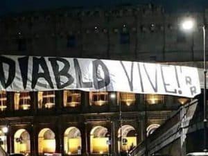 Lo striscione degli Irriducibili in ricordo di Fabrizio 'Diabolik' Piscitelli, ucciso ieri in un agguato a Roma