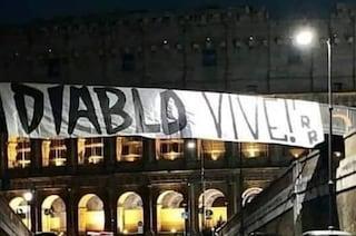 """Rimosso lo striscione in ricordo di Fabrizio Piscitelli al Colosseo: """"Diablo vive!"""""""