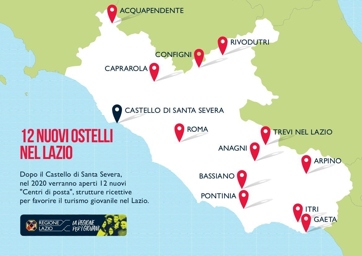 I 12 nuovi ostelli nel Lazio
