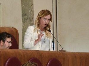 Giorgia Meloni in aula Giulio Cesare