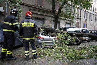 Maltempo a Roma, strade allagate e alberi caduti per tutta l'Urbe