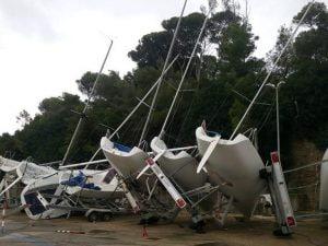 Barche danneggiate dalla tromba d'aria a Santa Marinella