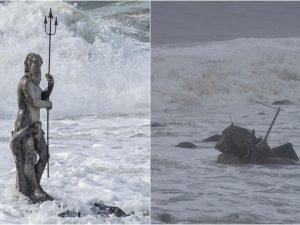 """La statua del dio Nettuno ad Ostia, prima e dopo le mareggiate di questi giorni. [Foto dalla pagina Facebook """"La Mia Ostia""""]"""