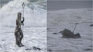 Maltempo, a Ostia affondata la statua del dio Nettuno