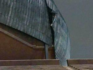 Danni alla cupola dell'Auditorium Parco della Musica di Roma