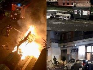 Cassonetti bruciati a Roma