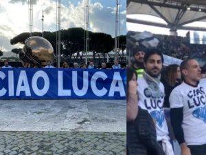 Lo striscione e le magliette per Luca Sacchi allo stadio Olimpico di Roma