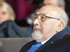 """Piero Terracina lo scorso 25 gennaio 2019, durante la mostra """"Testimoni dei Testimoni, ricordare e raccontare Auschwitz """" a Palazzo delle Esposizioni a Roma."""