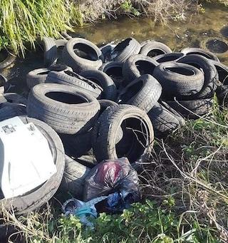 Ferentino, decine di pneumatici nel fiume Alabro: danno ambientale, zona completamente inquinata
