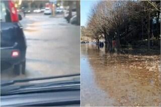 Roma, esplode una tubatura ai Parioli: via Guidubaldo del Monte diventa un fiume