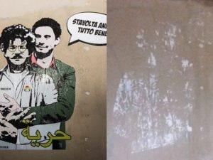 Il murales dedicato a Zaky e Regeni cancellato
