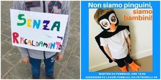 """""""Non siamo pinguini, siamo bambini"""": da 2 mesi scuola senza riscaldamenti, oggi flash mob al Comune"""