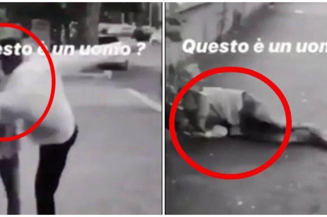 Le immagini del calcio e dell'uomo che cade in terra