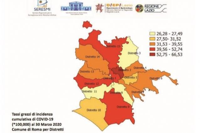 I quartieri di Roma più colpiti dai contagi da coronavirus