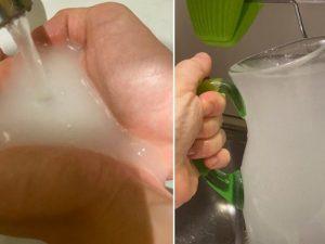 L'acqua bianca che usciva ieri dal rubinetto del parlamentare del Pd Filippo Sensi