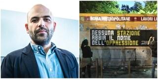 """Roberto Saviano sulla fermata della metro C dell'Amba Aradam: """"Dedichiamola a un partigiano"""""""