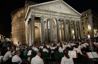 Le note di Ennio Morricone accompagnano l'inaugurazione della nuova illuminazione del Pantheon