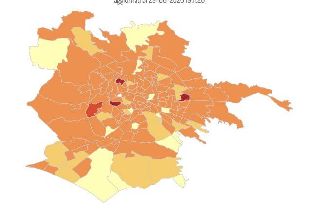 La mappa dei contagi a Roma