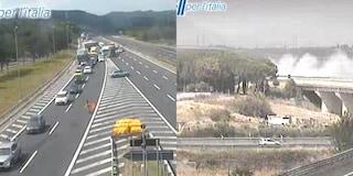 Incendio mezzo pesante sull'autostrada A1 a Fiano Romano: tratto bloccato e traffico in tilt