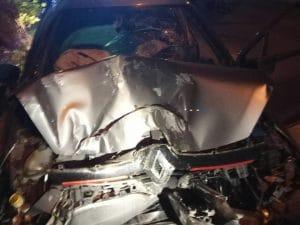 L'auto distrutta nell'impatto su via Prenestina Vecchia