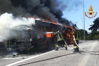 Roma, a fuoco bus Atac: vigili del fuoco mettono in salvo passeggeri e autista