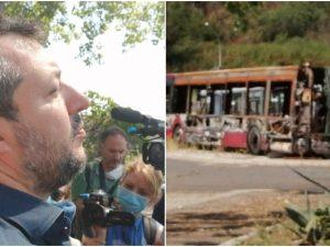Matteo Salvini visita il deposito Atac di via Candoni