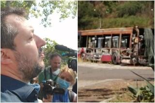 """Salvini visita deposito Atac che confina con campo nomadi: """"Sicurezza conducenti a rischio"""""""