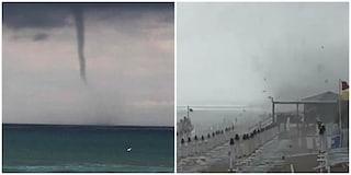 Sperlonga: la tromba d'aria che si abbatte sulla spiaggia e fa volare lettini e ombrelloni