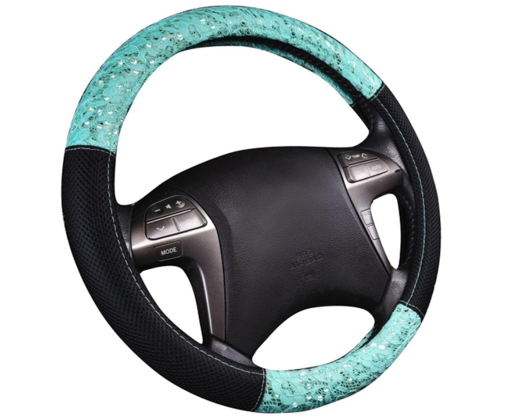 Coprivolante per auto universale tipo D,ihreesy Coprivolante per auto Coprivolante con strass glitter Bling Coprivolante antiscivolo Coprivolante lussuoso Coprivolante caldo peluche 38 cm,Colorato