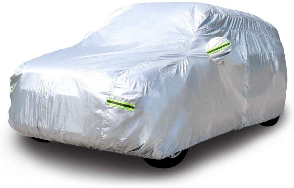Copertura Auto con indumenti protettivi Copri Auto Impermeabile grigio-argento con una treccia riflettente per Audi//BMW//Benz//Skoda FREESOO Copriauto