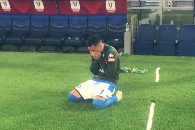 Callejon in lacrime a fine partita (foto Alessandro Antinelli)