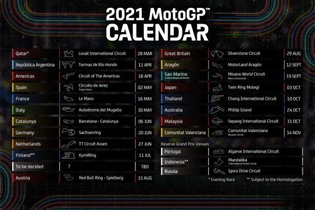 MotoGP, svelato il calendario provvisorio del Mondiale 2021: 20 i