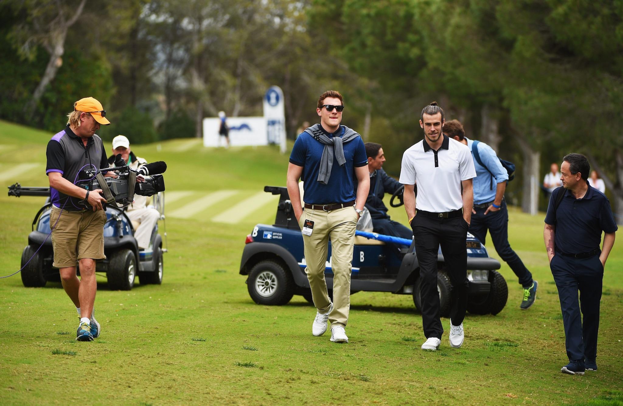 Gareth Bale durante l'Open di Spagna di golf del 2017