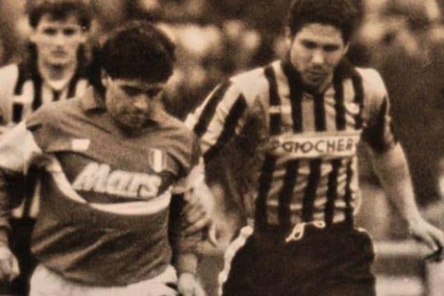 Maradona e Simeone in un Napoli–Pisa (Instagram)