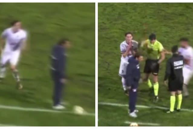 Catania: il tecnico entra in campo per fermare il contropiede della Vibonese